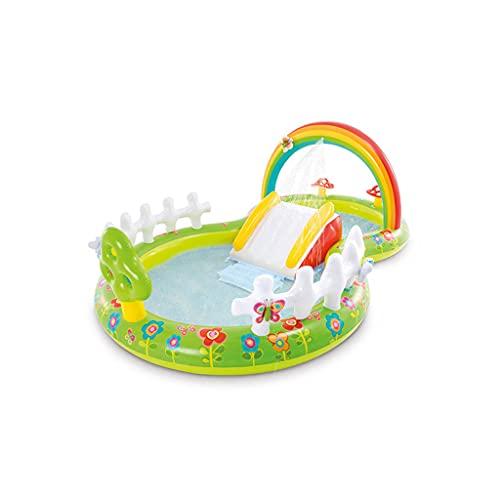Centro Juegos Hinchable Arcoiris Piscina Para Niños,la Piscina Para Niños con Rociado de Agua, Hecha de Material Grueso de PVC, es Fuerte y Duradera, Adecuada Para Jardines, Playas e Interiores.