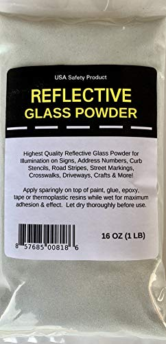 Reflective Glass Powder for Road Marking, Curb Paint, Traffic Paint, Pavement Striping, Parking Lots, Crosswalks, Driveways, Airports, Traffic Signs, Painting, Arts & Crafts (1 LB Bag)
