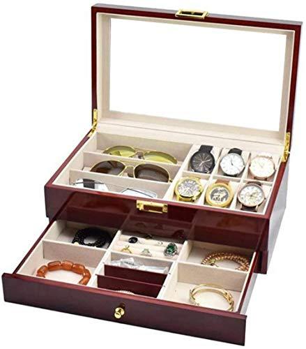 Caja de reloj reloj gafas caso multifunción doble almacenamiento caja de exhibición de alta calidad spray joyería cajas organizador reloj colección