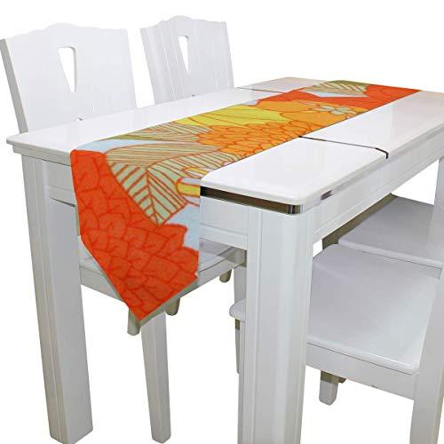 N/A Eettafel Runner Of Dresser Sjaal, Oranje en Groen Bloemendek Tafelkleed Runner Koffie Mat voor Bruiloft Party Banket Decoratie 13 x 90 inch