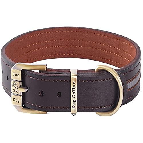Collar de perro de cuero genuino reflectante acolchado suave para collares de perro de raza mediana grande y extra grande (marrón L (cuello 45.5cm-55.5cm))