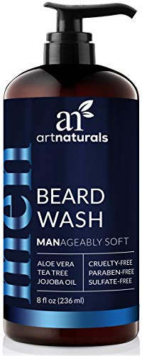 ArtNaturals Natural Beard Shampoo Wash - (8 Fl Oz / 236ml) - Infused with Aloe Vera, Tea Tree and Jojoba Oil - Sulfate Free