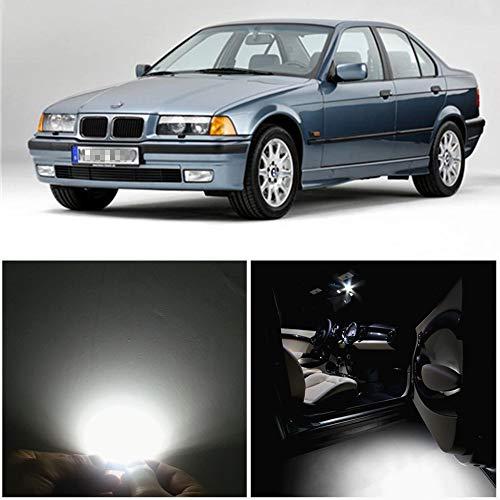 WLJH Lot de 15 ampoules LED pour éclairage intérieur de voiture 6000 K Blanc pur 2835 Puce sans erreur Canbus pour série 3 E36 M3 318i 318is 318ti 323i 323is 328i 325i