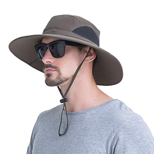 YR.Lover.Outdoor Boonie Men and Women's Hat - Sun Protection Wide Brim Waterproof Cap for Safari Fishing Hunting Summer Bucket Hat Army Green