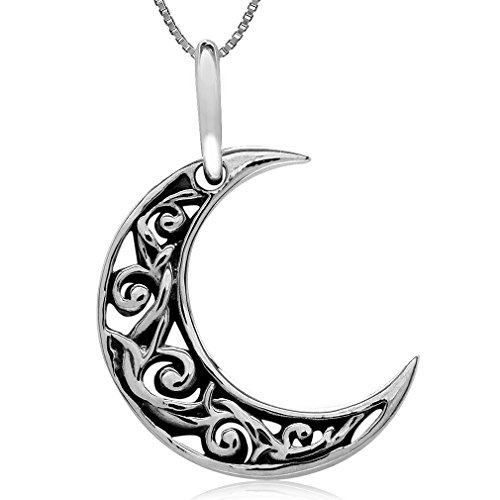 Silvershake 925 Silver Crescent Moon Filigree Pendant with 1mm 18 Inch Venetian Box Chain Necklace