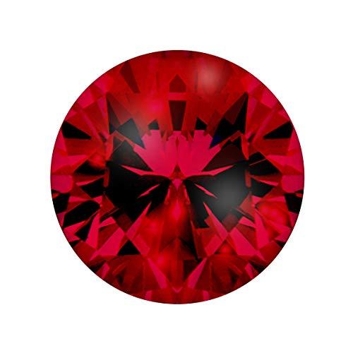 Quiges Austauschbare Mini Coin 12mm Wechselstein Rubin Rot Rund Zirkonia für Ringe-Ohrringe-Anhänger-Armband Halter