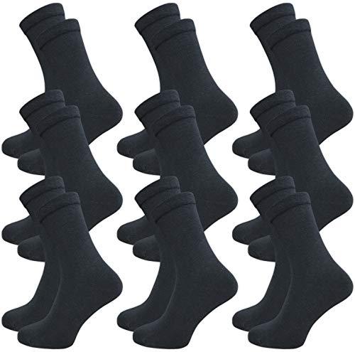 9 Paar Damen und Herren Socken ohne Gummi - venenfre&lich - ohne drückende Naht - Komfortb& (43-46, dunkelgrau)
