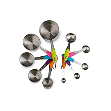 Kitchen Winners 10 Piece Professional Grade Stainless Steel Measuring Cups and Spoons Set with Soft Silicone Handles for Easy Grip