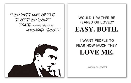 Brital Michael Scott Motivational Quote Poster Set, The Office Poster Wall Prints, Would I Rather Be Feared or Loved? Great Present for The Office Fans, 11' x 14' Unframed (Set of 2)