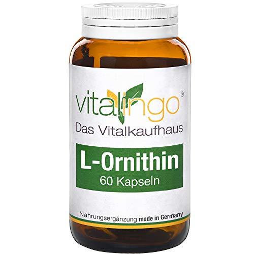 L-Ornithin Kapseln vitalingo - 60 Kapseln à 600mg - Zutaten je Kapsel: 500mg L-Ornithin Pulver Kapselhülle Methylcellulose Vegicaps