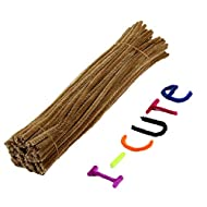 100pcs Chenille Stems/Pipe Cleaners 6 mm x 12 inch DIY Art Craft Decorations (Light Brown, 12inch x 6mm)