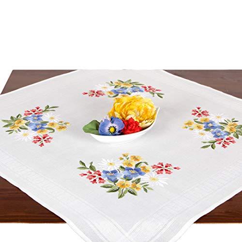 Stickpackung SOMMERSTRAUß, Tischdecken Set vorgezeichnet zum Sticken, Blumen Stickset mit Plattstich und Stielstich zum Selbersticken