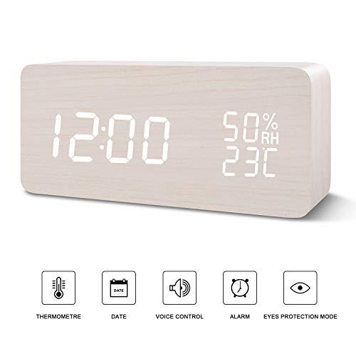 temp/érature et humidit/é FIBISONIC LED R/éveil num/érique en Bois avec Piles et USB en Quatre Couleurs r/éveil Lumineux Blanc r/éveil Multifonctionnel avec Trois alarmes Commande vocale