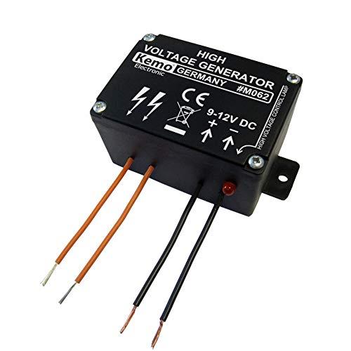 Kemo M062 Mini Weidezaun Hochspannungsgenerator 9 - 12 V/DC. Pulsierende, schwache Hochspannung von 1000 Volt. Kleintier-Elektrozäune, Einbrecherschutz