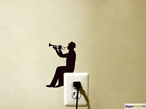 SUPERSTICKI Wandtattoo Steckdose Lichtschalter Trompetenspieler Musik Instrument Deko Hobby Dekoration Home Basteln aus Hochleistungsfolie Aufkleber Autoaufkleber Tuningaufkleber Hochlei