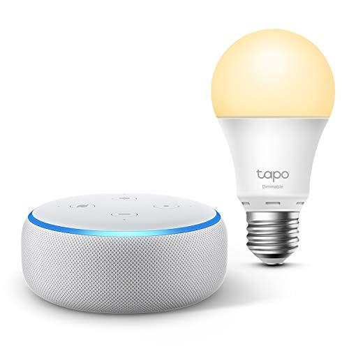 Echo Dot (3e génération), Tissu sable + TP-Link Tapo Ampoule Connectée (E27), Fonctionne avec Alexa