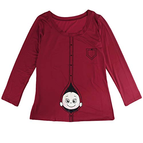 Camiseta de mujer Moda Primavera Verano Tamaño grande Mujeres embarazadas Manga larga Dibujos animados divertidos Baby Staring maternidad Blusa Tamaño 3XL (rojo vino)