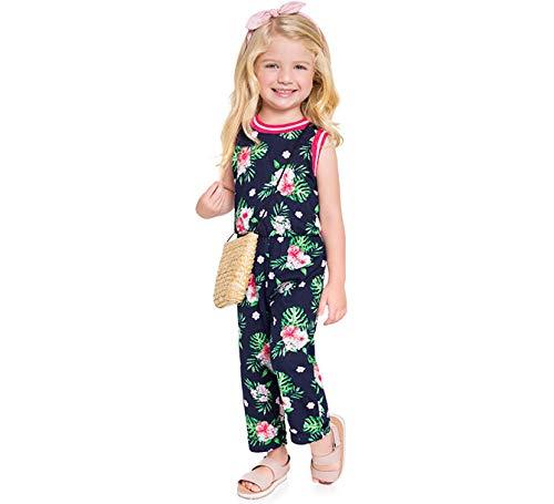 Macacão Infantil Azul Marinho Floral Hibisco Brandili Menina 1-3/4-8 Anos (1)