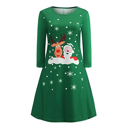 beetleNew Womens Dress Robe de Noël décontractée à Manches Longues avec imprimé Père Noël et élan - Robe de Cocktail de Noël - Robe de soirée - Élégante - Col Rond - Taille Haute - Vert - L