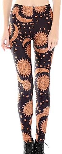 Tamskyt Damen Leggings mit Galaxie-Stern-Motiv, hohe Taille, dehnbar Gr. One size , Sonne & Mond
