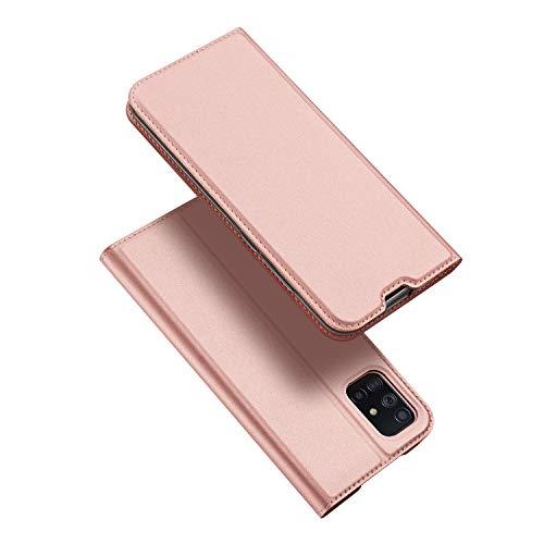DUX DUCIS Hülle für Samsung Galaxy A71, Leder Flip Handyhülle Schutzhülle Tasche Hülle mit [Kartenfach] [Standfunktion] [Magnetverschluss] für Samsung Galaxy A71 (Rose Golden)