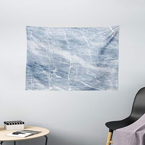ABAKUHAUS Marmor Wandteppich, Blau Geographie Stein, Wohnzimmer Schlafzimmer Wandtuch Seidiges Satin Wandteppich, 150 x 100 cm, Blassblau Weiß
