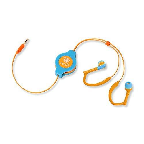 ReTrak EUAUDWBUOR Retractable Sports Wrap Earbuds - Neon Blue Orange