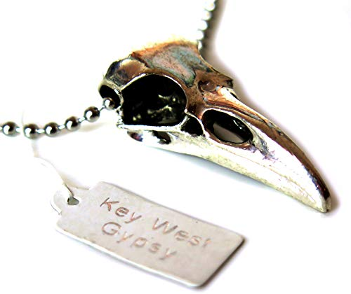 Key West Gypsy 40 mm/Silver Raven Bird Skull Necklace/Minimalist Original Made in USA with 75 cm Stainless Steel 2 mm Silver Ball Chain Necklace/Bellatrix Lestrange/Wicca/Steampunk