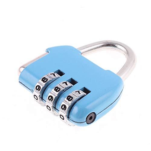 X-DREE Caja de equipaje Mini candado de reinicio de combinación reiniciable con 3 dígitos número azul (Assurance Box Mini Cadenas Combinaison reprogrammable w 3 chiffres