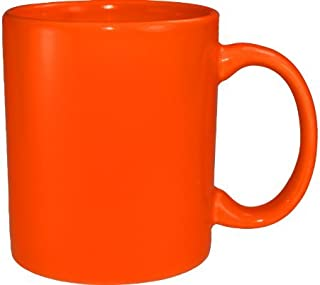 Funny Guy Mugs Plain Orange Ceramic Coffee Mug, Orange, 11-Ounce