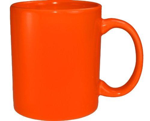 Funny Guy Mugs Plain Orange Ceramic Coffee Mug, Orange, 11-Ounce
