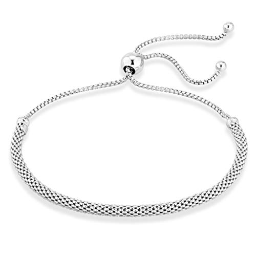 Miabella 925 Sterling Silver Italian Adjustable Bolo 3mm Round Mesh Chain Bracelet for Women Choice of White or Yellow Made in Italy (sterling silver)