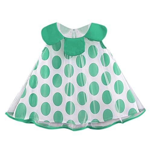 Girl Dress Skirt Infant Baby Sleeveless Dot Print Tulle Dress Princess Dresses,for Special Occasion(Green,12-18 Months)