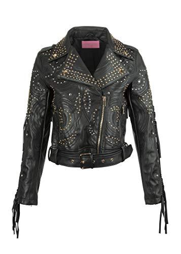 Glam and Gloria Chaqueta de piel sintética negra para mujer en estilo motero, con remaches y flecos. Negro XL