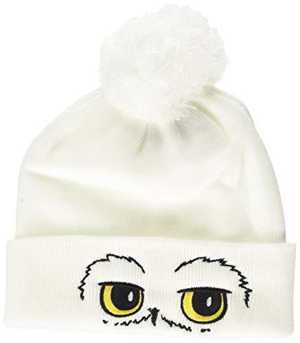 Harry Potter Unisex Hedwig Eyes Pompom Beanie Strickmütze, Weiß (White White), One Size (Herstellergröße: OS)