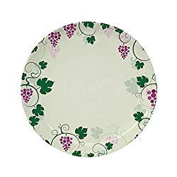 Ylljy00 Nature 6 Dinner Plate,Grape Vines Framework Fruit Garden Curvy Branches Leaves Vintage Illustration Ceramic Decorative Plates,Dining Table Tabletop Home Decor,Purple Green