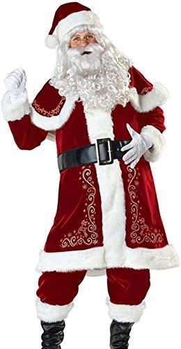 VERNASSA Costume di Natale da Babbo Natale Adulto Deluxe, Babbo Natale Vestito Operato da Uomo Donna