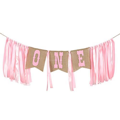 Ruiting Banner Geburtstag 1 Party Deko Girlande Geburtstag Baby Junge Geburtstag Party Jahrestag deko Tisch- und Stuhl deko Flagge 1 Set Pink.