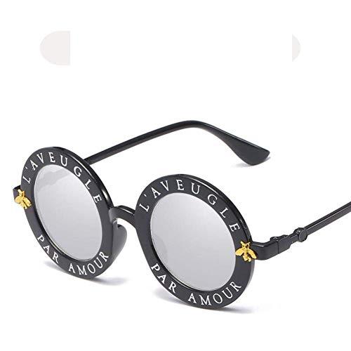 JYTBD Sports Outdoor Producten/Persoonlijkheid Zonnebril Vrouwen Ronde Zonnebril Mode Zonnebril Persoonlijkheid Engels Letter Spiegel Oogkleding
