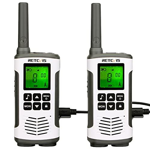 Retevis RT45 Walkie Talkie, Funkgerät Lizenzfrei 16 Kanäle VOX Rufton Taschenlampe PMR Funkgerät Set Wiederaufladbar USB Ladekabel(2er Set)