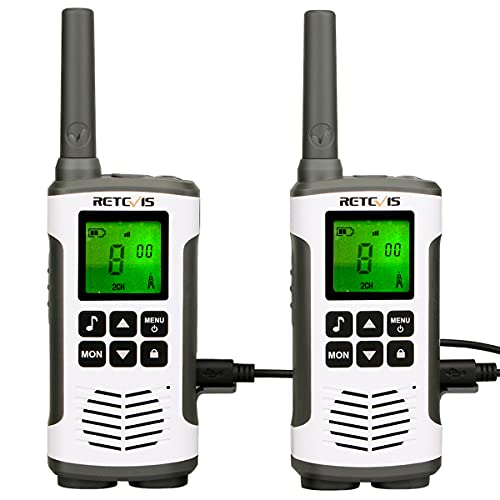 Retevis RT45 Walkie Talkie, PMR 446 Sin Licencia Walkie Talkie Profesional, Recargable USB 16Canales y 121Códigos VOX Walkie Talkie(2 Piezas)