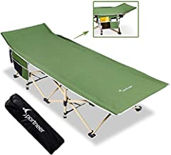 Sportneer Folding Camping Cot, 2 Side Large Pockets Portable Camp Bed Cots with Carry Bag, Max Load 450 LBS, for Camping, BBQ, Hiking, Backpacking, Beach, Office