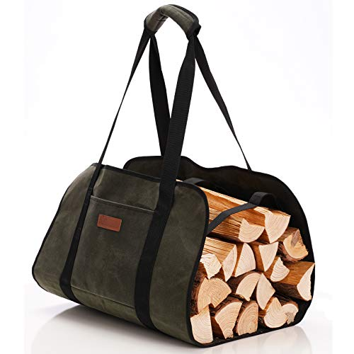 INFANZIA Firewood Carrier Large Canvas Log Tote Bag Firewood Totes Holders Fire Place Carriers with Handles Strap Carrying for Tubular Birchwood Stand by Hearth Stove Tools Set Basket