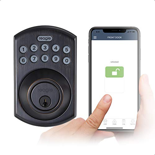 Reagle Cerradura inteligente, teclado Bluetooth, certificado Apple HomeKit, funciona con Siri, iOS y Android, bronce oscuro