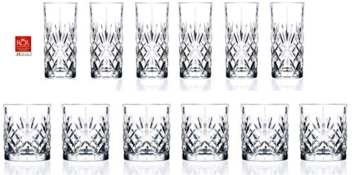 RCR Cristalleria Italiana Crystal Glass Drinkware Set (DOF Whiskey (10.5 oz) & Highball Tumbler...