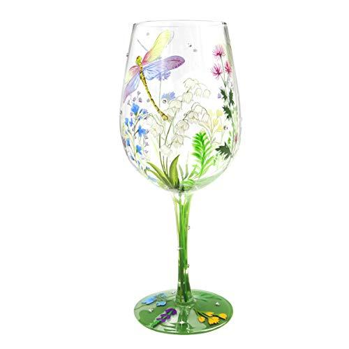 NymphFable Copa de Vino Pintada a Mano Coloridas Libélulas Flores Copa de Vino Tinto 15 oz para Cumpleaños, Bodas, Fiestas de Compromiso