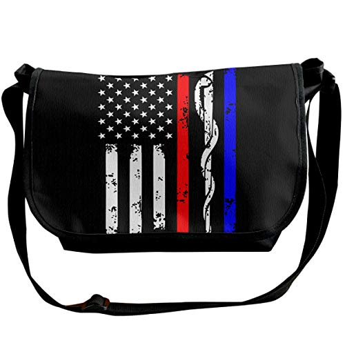 BUGKHD Police & Firefighter & EMT Flagge, Schultertasche für Herren und Damen, Umhängetasche für Shopping, Studenten, Studium, Business