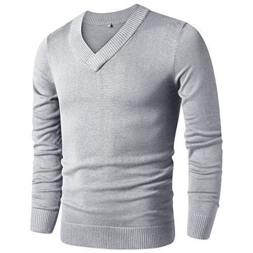 LTIFONE Sweaters for Men,V Neck Slim Comfortably,Knitted Long Sleeve (Grey,M)