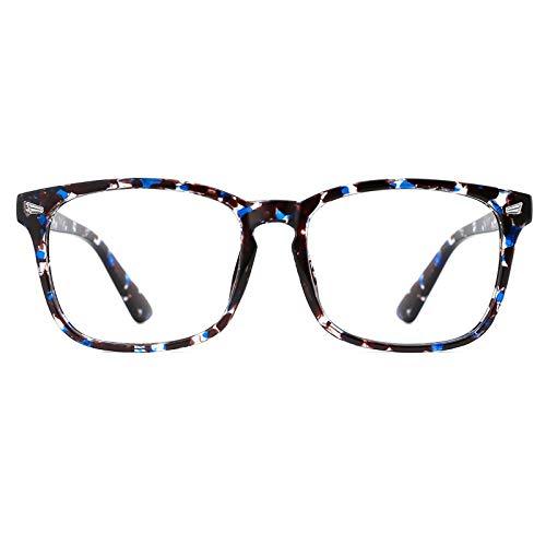 TIJN Blaulichtfilter Brillen Anti blaulicht Damen Herren Brillen ohne sehstärke Computer Brillen Gaming Brillen für PC Handy und Fernseher (Blaue Tinte - Federscharnier)
