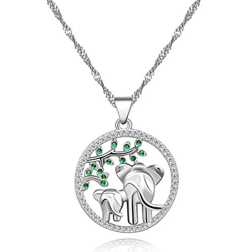 Uloveido Elefant Anhänger Wildlife Halskette Green Tree Leaf Symbol des Lebens Anhänger Schmuck Mutter Geschenke für Mama oder Großmutter (Silber) Y482